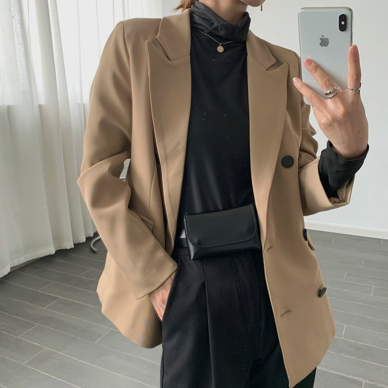 2020 new women's solid color double-breasted ladies jacket office suit Autumn and winter mid-length women's blazer high quality