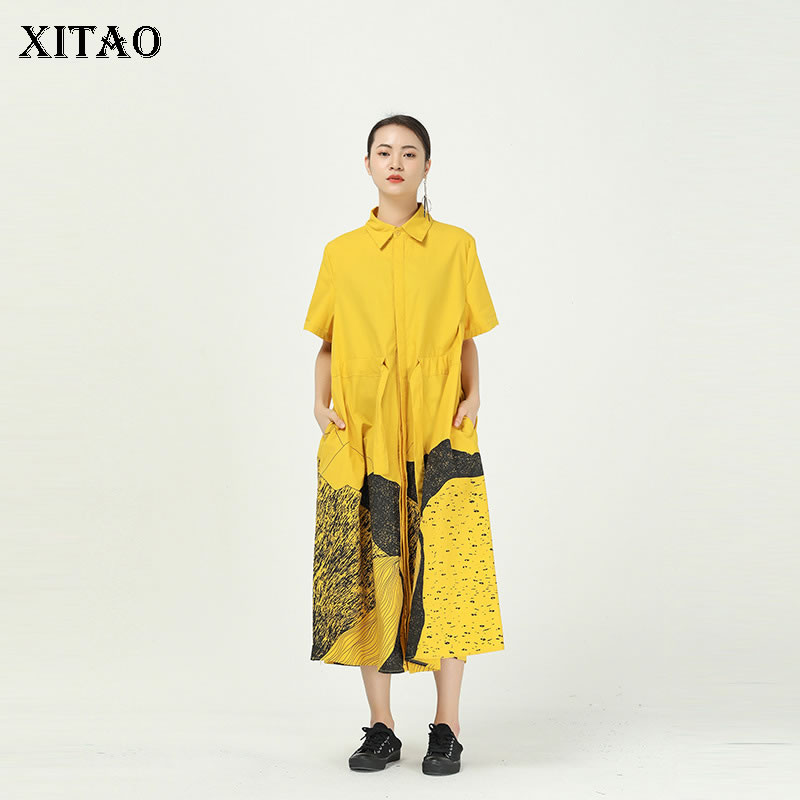 XITAO Single Breast Dress Fashion New Vintage Print Pattern Plus Size Loose 2020 Summer Goddess Fan Casual Loose Dress XJ1265