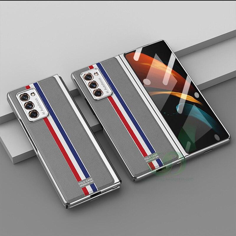 Двухсторонний чехол с полной защитой для Samsung Galaxy Z Fold 2, чехол с кожаным покрытием для Samsung Z Fold 2 W21