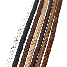 2meters/lot 3/4/5/6mm MuiltColor Round Genuine Braided Leather Cords Vintage Cow Leather Cords Rope for Bracelet Jewelry Making