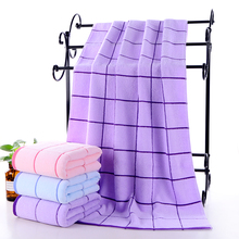 Simple and generous Plaid natural cotton bath towel high quality thickened soft absorbent towel adult pure cotton washcloth