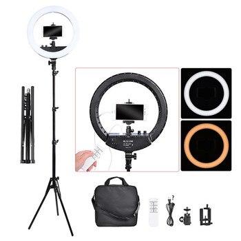 Fosoto FT-240RL 14 polegada anel de luz fotográfica lâmpada 240 led anel luz tripé suporte & remoto para câmera telefone vídeo photo studio