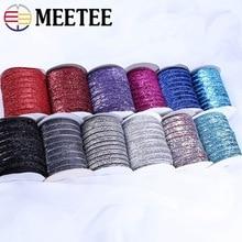 Meetee 9/16mm Sparkle Glitter aksamitna taśma koronkowa wykończenia pałąk klipy łuk wesele DIY prezent Decor materiały do szycia