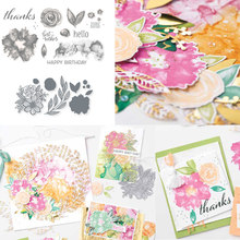JC Metal Cutting Dies and Clear Stamps Hello Thanks Flowers Letters Scrapbooking Craft Stencil DIY Album Sheet Mold Mould Decor