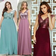 Sparkle vestidos De noche largo bonito EP00962BD lentejuelas una línea De cuello en V sin mangas Borgoña vestidos formales vestido De velada 2020