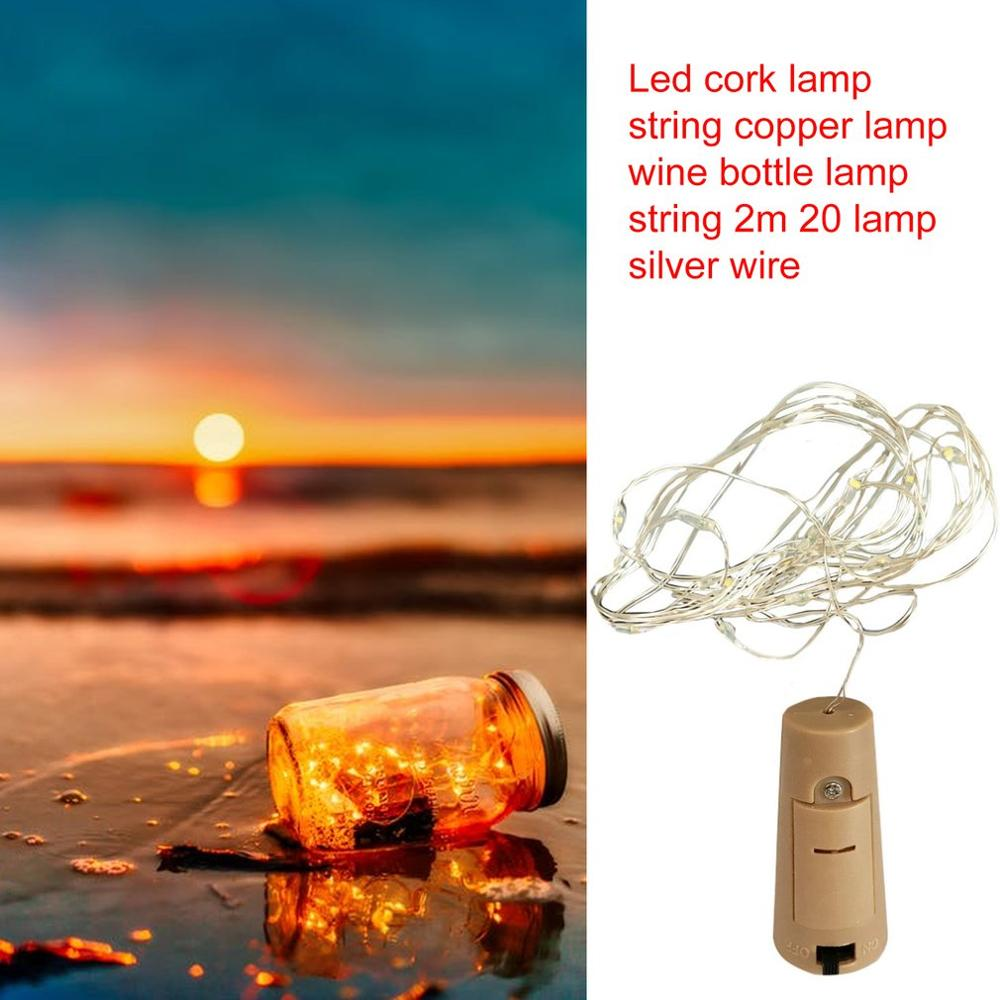 2M 20LED Garland Solar Wine Bottle Lights Solar Cork Fairy Lights Christmas Light LED Copper Garland Wire Fairy String