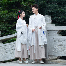 White Couple Dynastie Tang Chinese Traditional Hanfu Cotton Han Element Mantle Women and Man Skirt Elegant Costume Clothing 2019(China)