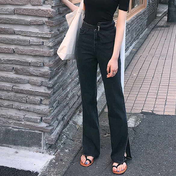 2020 Spring New High Waist Jeans For Women Chic Straight Denim Jeans Split Loose Streetwear Female Black Jeans Femme
