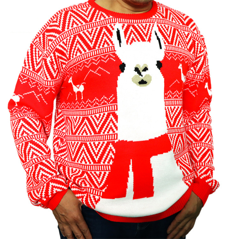 Funny Knitted Llama Ugly Christmas Sweater For Men Cute Knit Pullover Xmas Party Alpaca Ugly Christmas Jumper Plus Size
