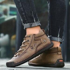 Image 5 - Valstone秋冬メンズスニーカー媒体カットブーツ男性ヴィンテージ革ハンドメイドの靴スニーカーxlサイズ48レトロフロスティブーツ