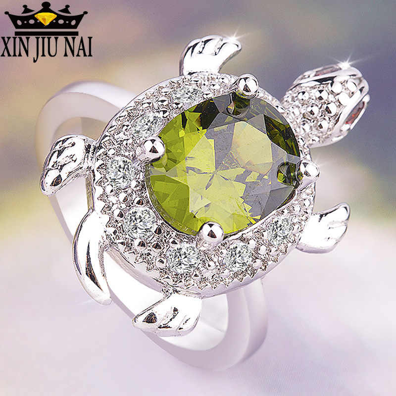 Cute animal turtle emerald  FOlive Green Turtle Ring Retro 925 Silver Crystal Zircon Stone Rings For Women Girl party jewelry