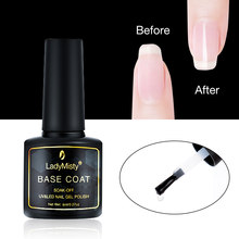 Ladymisty 8 Ml Base Coat Gel Cepat Kering Basis Gel Cat Kuku Kuku Seni Rendam Off Gel Tahan Lama Gel pernis untuk Manikur(China)