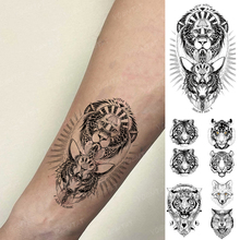 Waterproof Temporary Tattoo Sticker Egypt Lion Wolf King Tiger Realistic Body Art Tatoo Black Fake Tatto Man Woman Child Tattoos