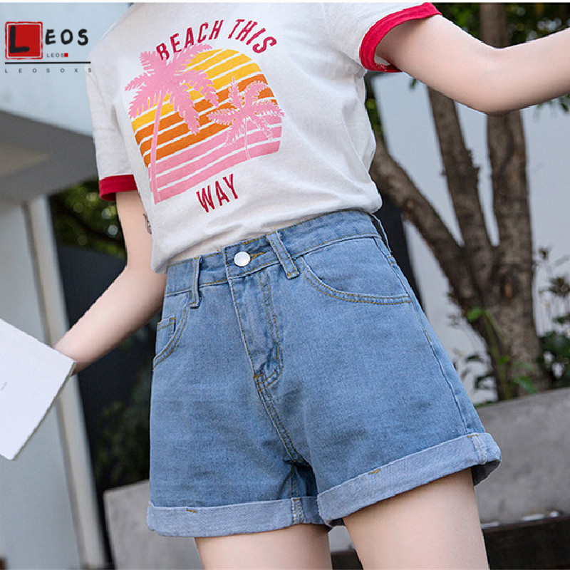 Denim Shorts Women Wide Leg High Waist Jeans Vintage Large Size Shorts For Girls Jeans Summer Loose Leisure Lady A Word Shorts