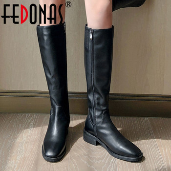 FEDONAS Riding Boots Woman Antumn Winter Warm Genuine Leather Boots Party Basic Shoes Woman Side Zipper Square Toe High Boots