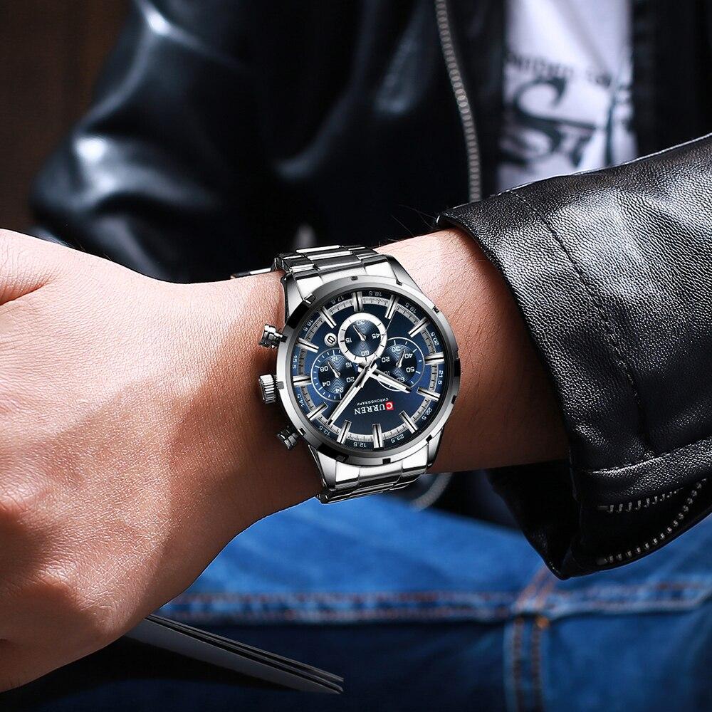 CURREN Top Brand Military Quartz Watches Silver Clock Mens Quartz Stainless Steel Chronograph Watch for Men CURREN Top Brand Military Quartz Watches Silver Clock Mens Quartz Stainless Steel Chronograph Watch for Men Casual Sporty Watch