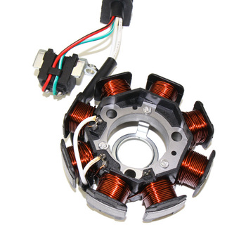 High Quality Aluminum alloy Motorcycle 8 Poles Magneto Ignition Stator Coil Generator Fit For Yamaha RS100 JOG100 motorcycle ignition magneto stator coil for kawasaki ex250 ninja 250r 2008 2012 magneto engine stator generator coil accessories