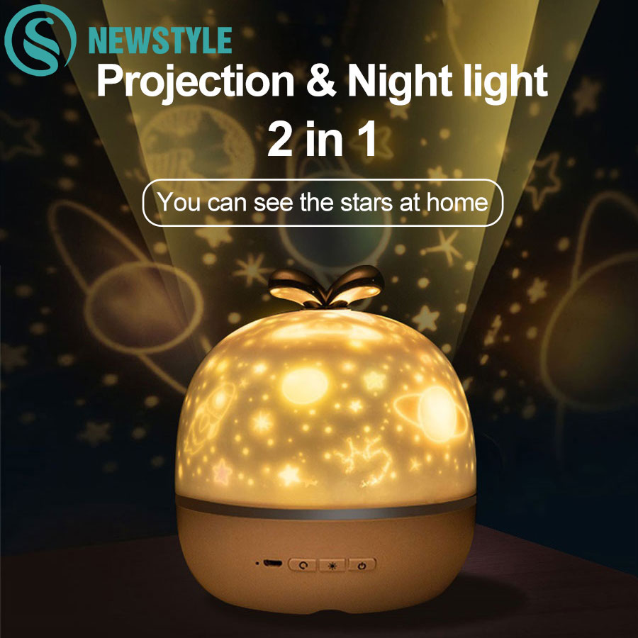 Night Light Projector With USB Cable Powered Starry Sky Romantic Rotating Projection Music Lamp for Kids Bedroom Christmas Gift