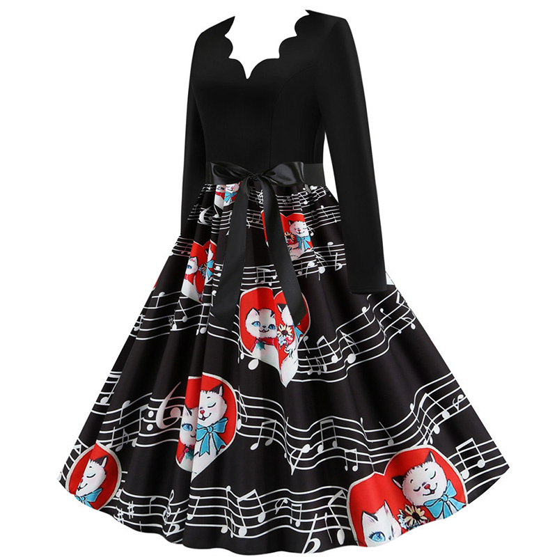 Women Long Sleeve Winter Vintage Dresses Sexy Black Music Note Print V-neck Rockabilly Pin up Party Dress Vestidos Plus size 590