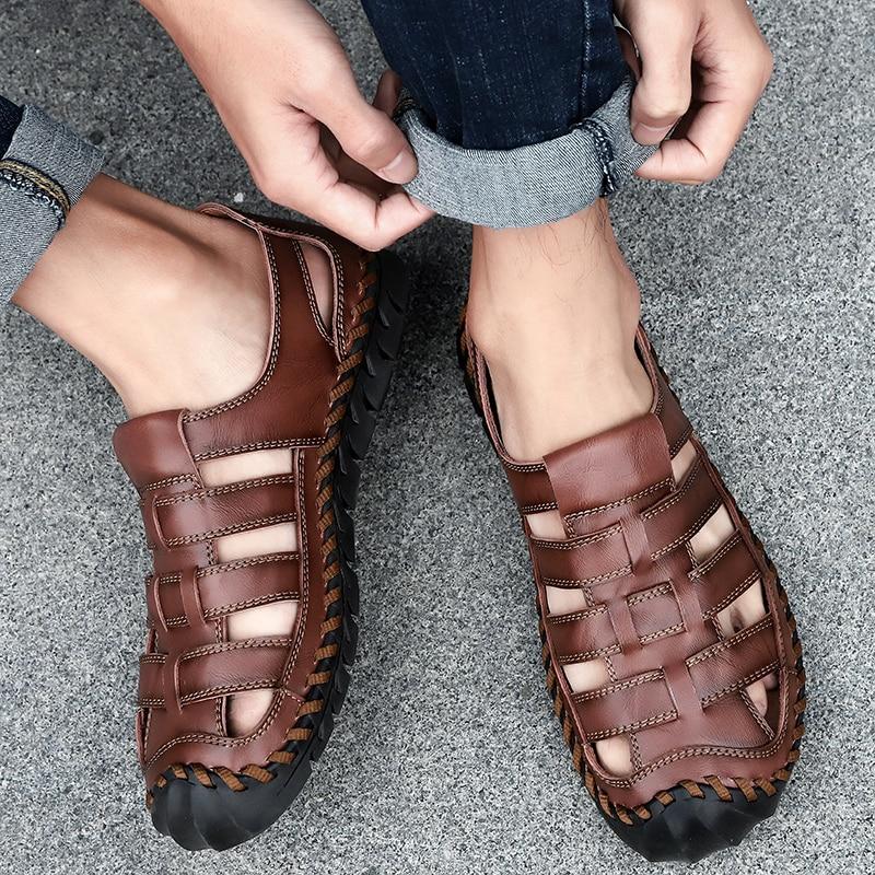Men's Sandals Genuine Leather Men Shoes Outdoor Lightweight Summer Shoes Comfort Fashion Casual Men Sandals Zapatos De Hombre
