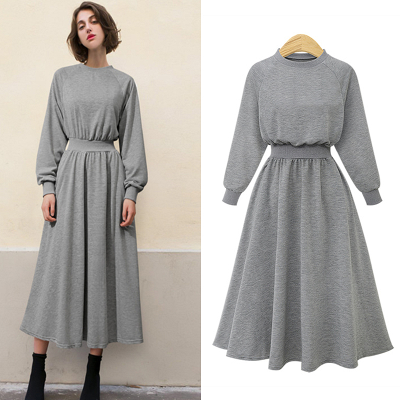 2019Autumn Winter Female Casual Tunic Sweatshirt High Waist Long Sleeve Plus Size Women Jumper Dress Pullover Vestidos De Fiesta