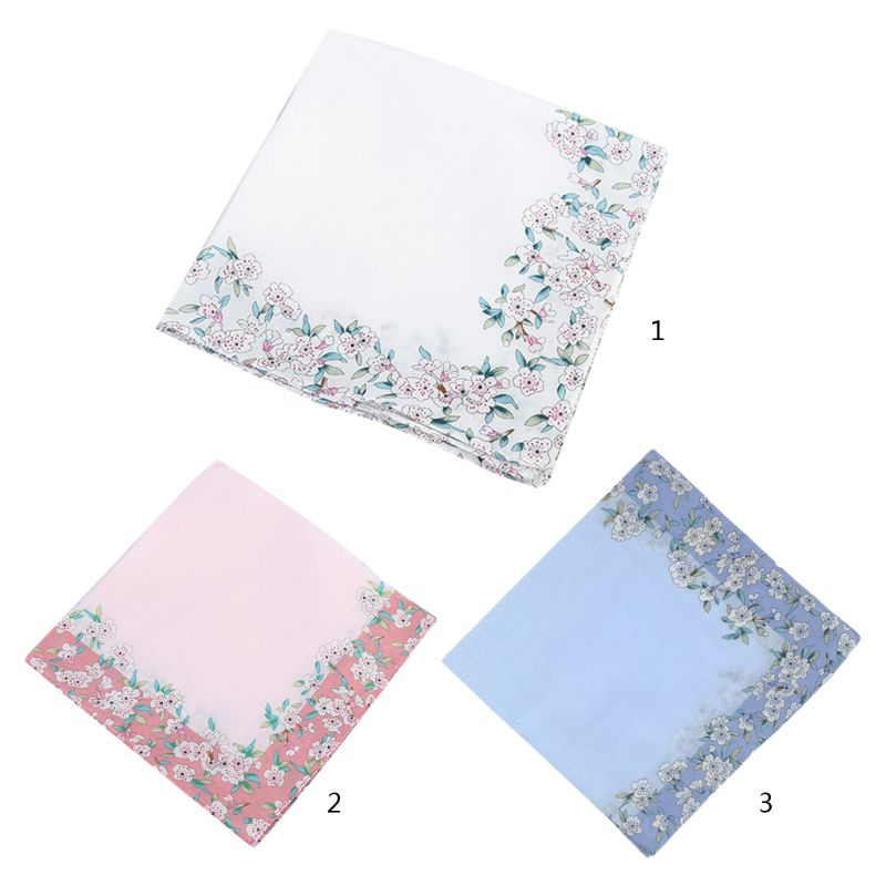 Women Cotton Square Handkerchiefs Cherry Blossom Floral Candy Color Towel Lady Female Casual Outdoor Pocket Handkerchief