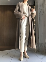 Fall Winter 2019 classic robe style oversize long wool coat women alpaca coat