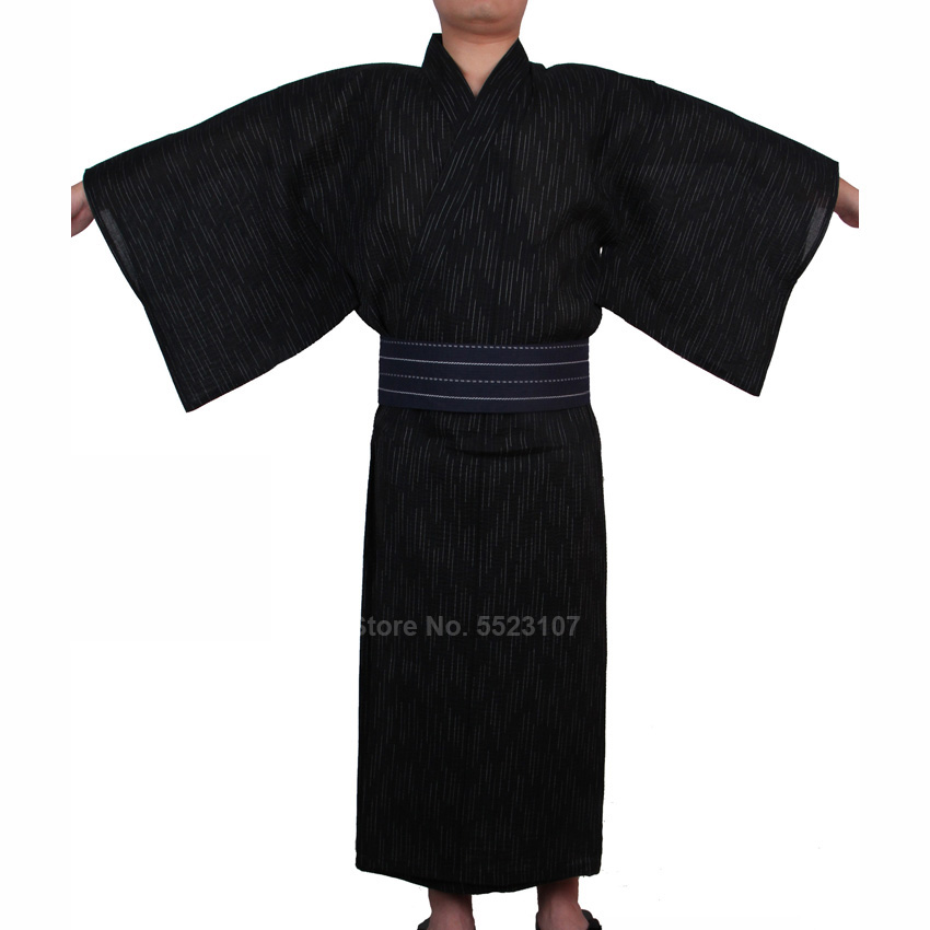 Traditional Japanese Kimono Yukata Men Cotton Dressing Gown Male Lounge Robes Samurai Male Pajamas Night Gown No Belt Jinbei