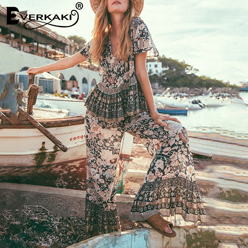 Everkaki Vintage 2 Pieces Suits Sets Women Boho Floral Print Loose Top And Long Pants Sets Suits Gypsy Female 2020 Spring New