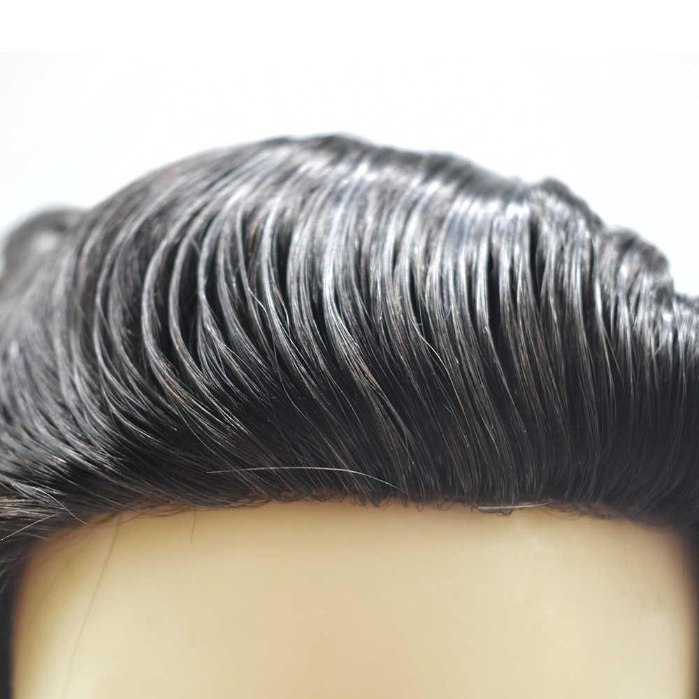 Peluca fina Mono para hombre, peluca de repuesto de pelo Remy con recubrimiento de poliéster, pelucas de monofilamento directo de fábrica, más colores, peluquín en Stock Más de 30 días. Haz una curva de 32 mm Comodidad
