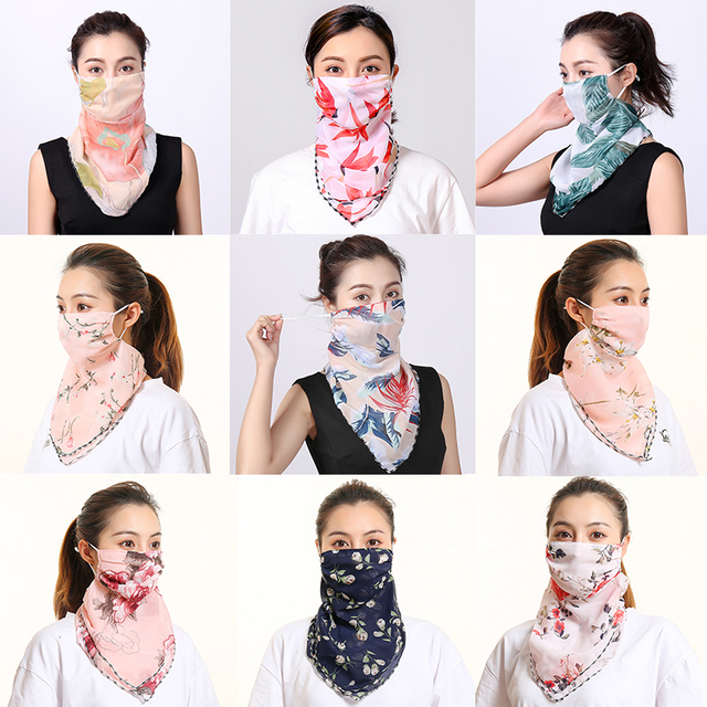 Women Chiffon Mask Scarf Face Mascarillas Wraps Floral Print Lady Silk Neck Scarves Foulard Bandana Reusable Masks Sun Protect 1