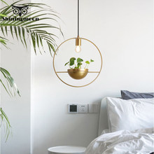 Modern Copper Pendant Lights Creative Round Gold Pendant Dining Room Kitchen Hanging Lamps Bedroom Decor Hanging Light Fixtures(China)