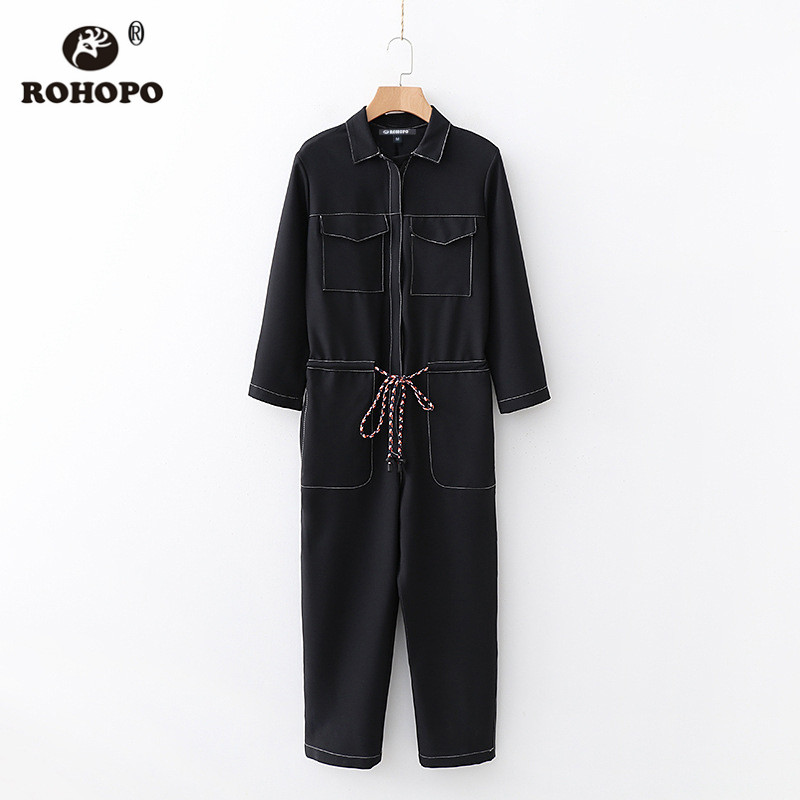 ROHOPO Long Sleeve Discover Thread Black Cargo Jumpsuit Top Zipper Fly Belted Ladies Pockets Mono #2422