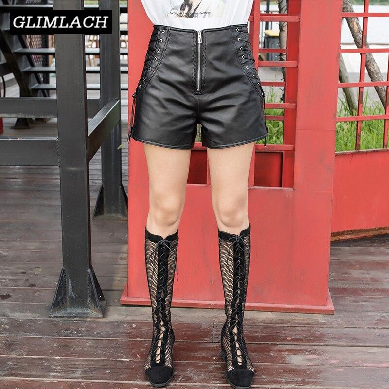 Shorts Women Sheepskin Lace-Up Punk-Style Zipper High-Waist Real-Leather Ladies Wide