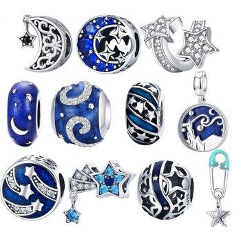 Женские браслеты-подвески BISAER, серебристые, голубые, с изображением звезд, Луны, снежинок, перлей, звезд, 925 пробы, 925 пробы