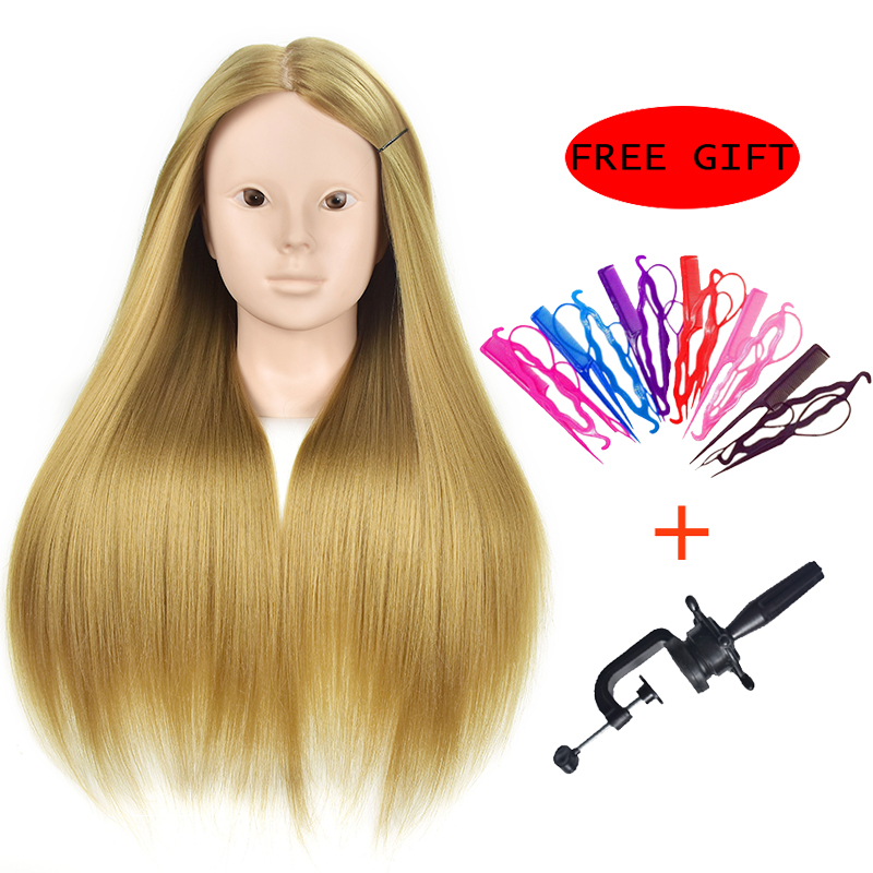 Mannequin Maniquin Dummy Brown 65cm Synthetic Hair Training Mannequin Head With Hair Mannequin Training Head
