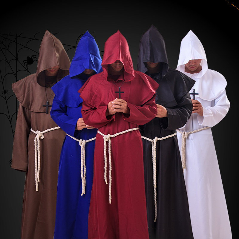 Red Monk Mens Adult Religious Halloween Friar Costume Robe