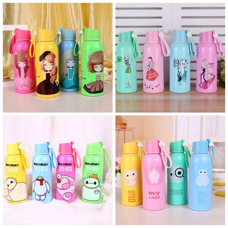 Currently Available Cartoon Plastic Box Glass Bottle Children Students Glass Creative Gift Cup Manufacturers Direct Selling Smal