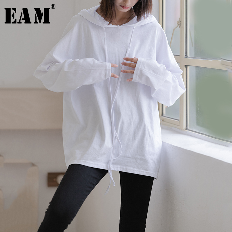 [EAM] Loose Fit White Drawstring Causal Sweatshirt New Hooded Neck Long Sleeve Women Big Size Fashion Tide Spring Autumn 2020