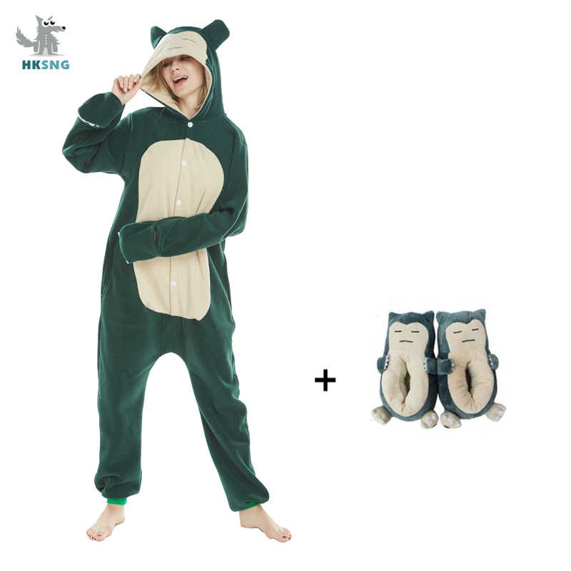 Hksng Nieuwe Animal Adult Kigurumi Snorlax Pokemon Onesie Pyjama Cartoon Kostuum Halloween Party Jumpsuits Pak