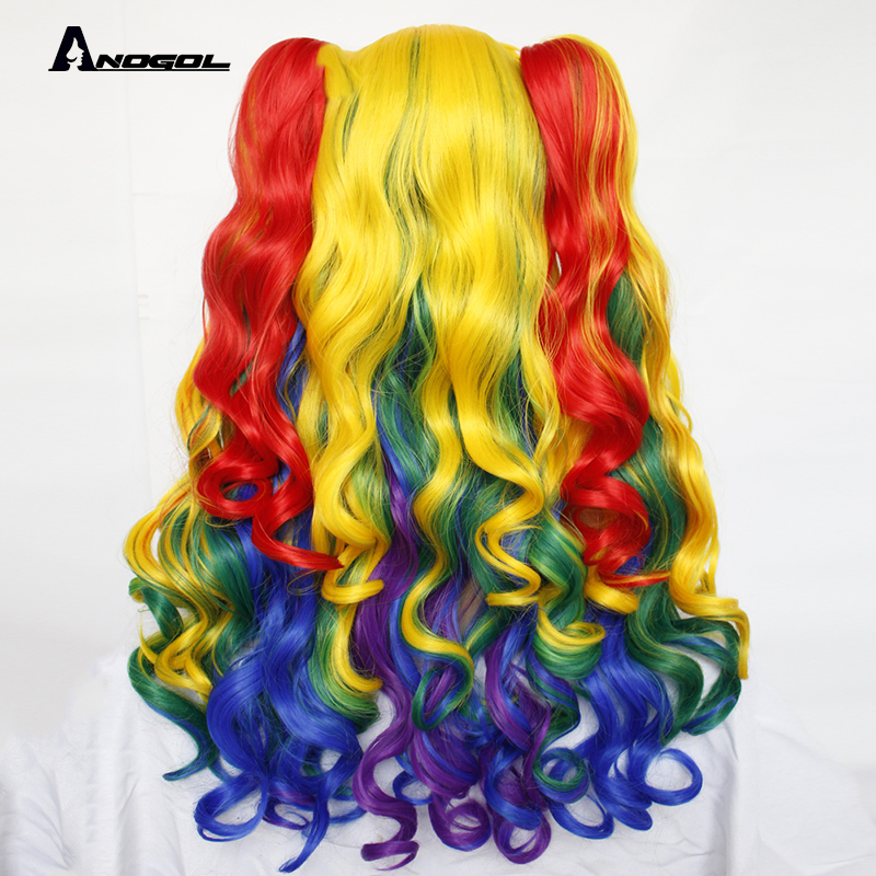 Image 3 - ANOGOL Lolita Rainbow Wig High temperature fiber Pigtail 6ix9ine  My Little Pony Synthetic Cosplay Wigs For Girls HalloweenSynthetic None-Lace  Wigs   -