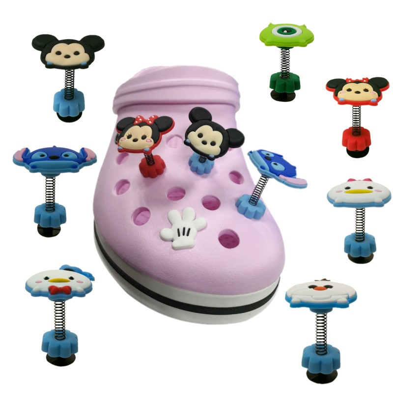 1pcs Hot Cartoon Image PVC Spring Shoe Charms Anime Mickey Standing Shoe Buckles JIBZ Croc Charms Shoes Decoration Kids Gift