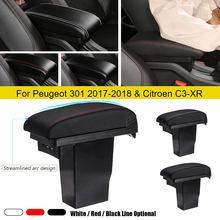 Compartimento de reposabrazos para coche, 3 USB, caja de almacenamiento central de cuero para Peugeot 2008, Peugeot 301 y Citroen C3-XR