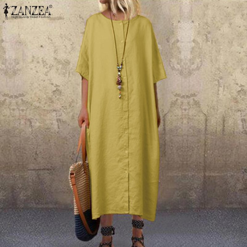 ZANZEA 2019 Casual Shirt Dress Women's Summer Sundress Fashion Half Sleeve Tunic Midi Vestidos Female Button Down Party Robe 5XL