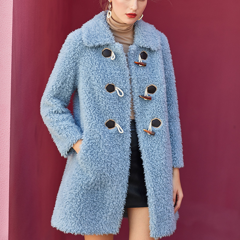 Women's 2020 Fur Coat Winter Coat Women Sheep Shearling 100% Wool Coat Female Pink Long Jacket Chaqueta Mujer MY4218