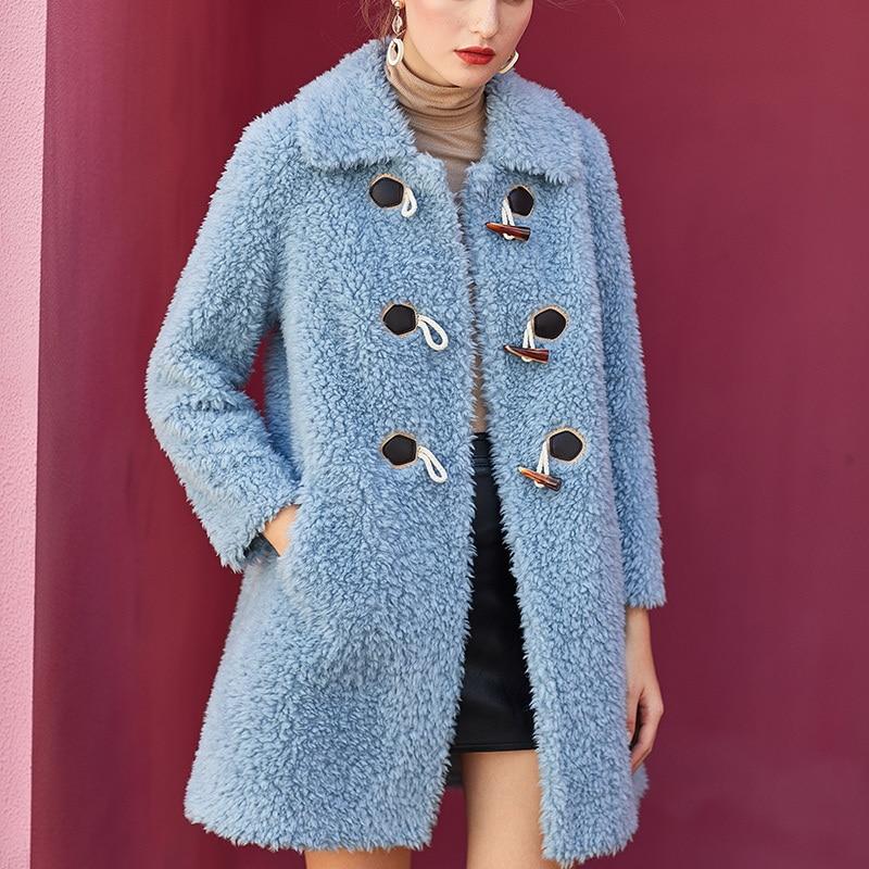 Women's 2020 Fur Coat Winter Coat Women Sheep Shearling 100% Wool Coat Female Pink Long Jacket Chaqueta Mujer MY4218