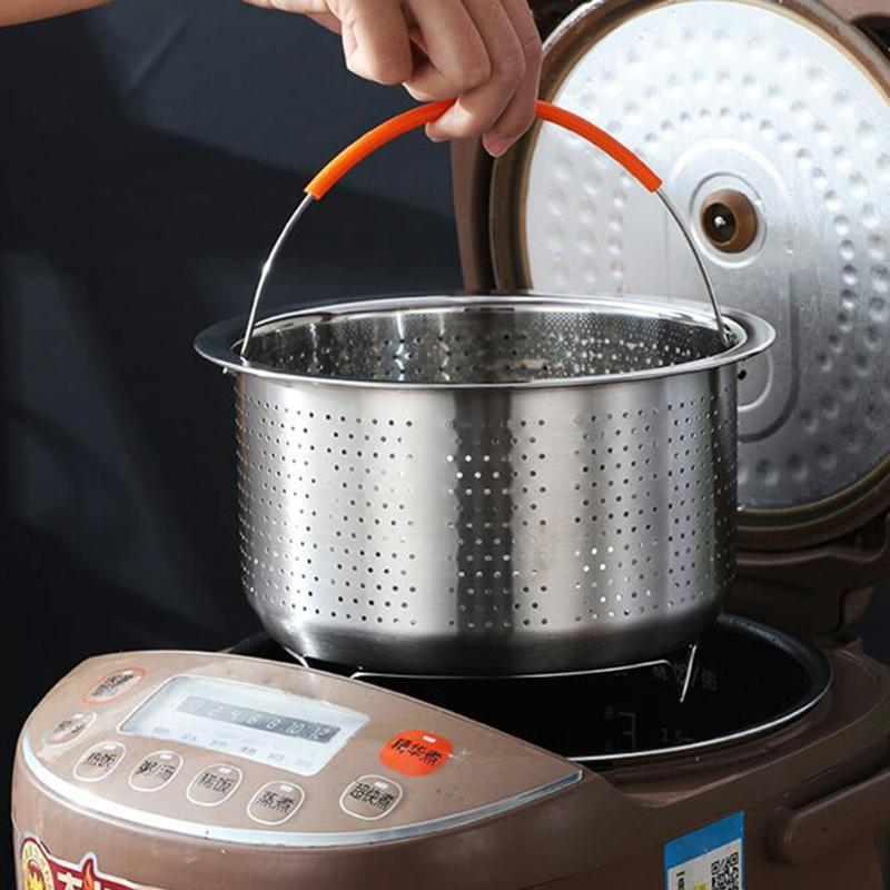 Stainless Steel Steamer Basket Rice Pressure Cooker Fruit Cleaning Drainer Kitchen Gadget Steaming Tools