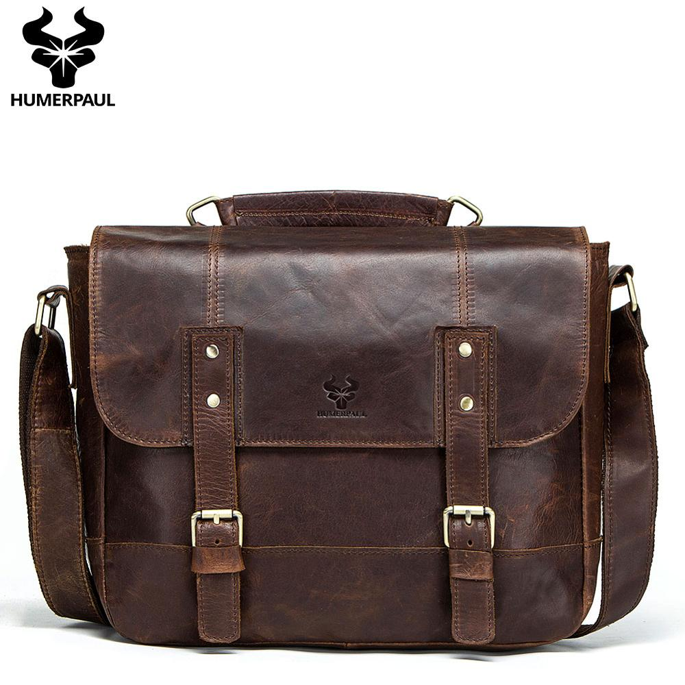 Crazy Horse Cow Leather Men Briefcase High End Business Travel Bag Retro Style  Male Handbag  Shoulder Cross Body Bag Laptop Bag
