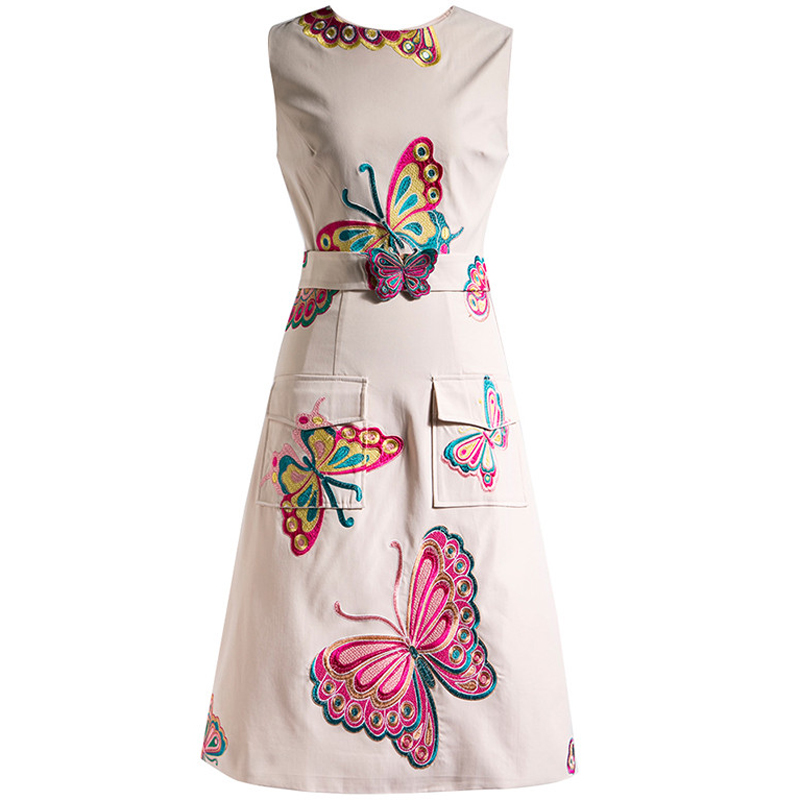 Rhinestones party style runway Lapel neck Long sleeve Butterfly Floral dresse