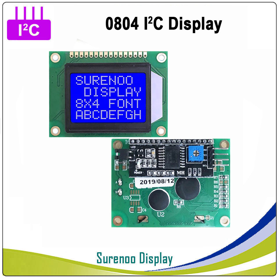 Serial IIC / I2C / TWI 0804 804 8*4 Largest Character LCD Module Display Yellow Green Blue With Backlight For Arduino